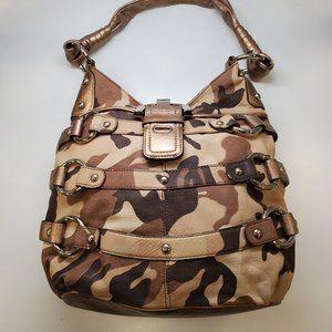 B. Makowsky Brown Camo Leather Handbag